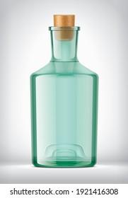 Transparent Color Glass Bottle. 3d rendering