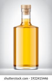 Transparent Color Glass Bottle. 3d rendering.