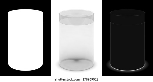 Transparent cylindrical box with masks