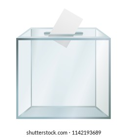 Transparent election box mockup. Realistic illustration of transparent election box mockup for web design isolated on white background