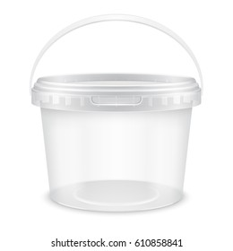 Transparent empty plastic bucket with raised handle for storage of food, honey or ice cream. Front view. Packaging mockup 3d illustration.