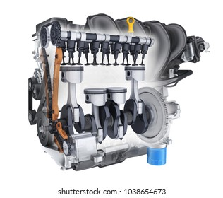 Transparent engine car on white background. 3d illustration