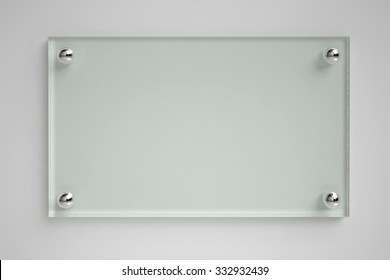 Transparent glass board on the wall