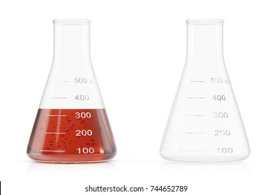 Transparent glass chemical flasks full of red liquid and empty beaker isolated on white background. 3D illustration