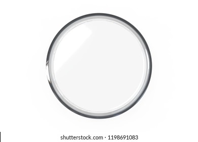 Transparent glass Petri dishes on white background. Top view. 3D rendering