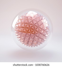 transparent glass sphere with rose gold metal low poly polygon balll