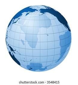 Transparent globe focused on the Pacific Ocean