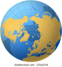 Transparent Globe with view over the Arctic