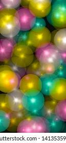 transparent glowing colourful balls illustration,on blackbackground.