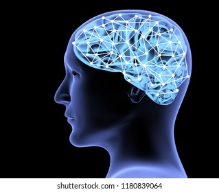 Transparent head of man and neural network of brain. Isolated on black background. 3d render
