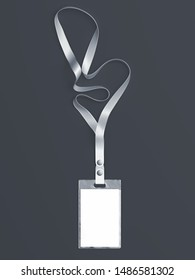 Transparent lanyard and blank white badge isolated on black background. 3d rendering.
