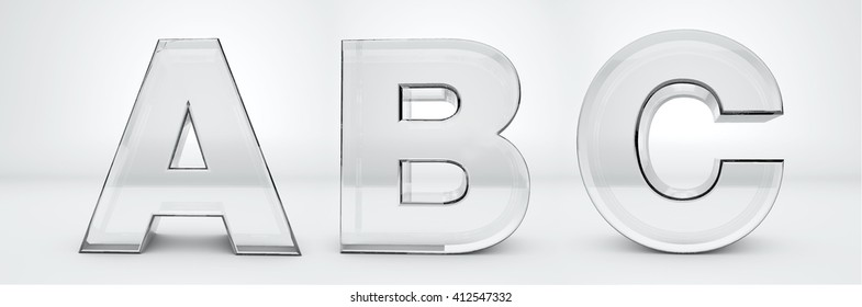 Transparent letters A, B, C. Glass alphabet 3d render.