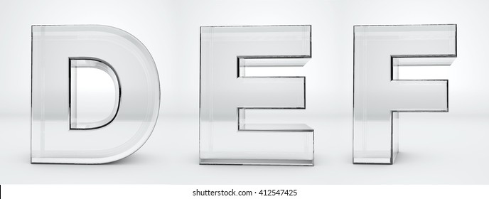 Transparent letters D, E F. Glass alphabet 3d render.