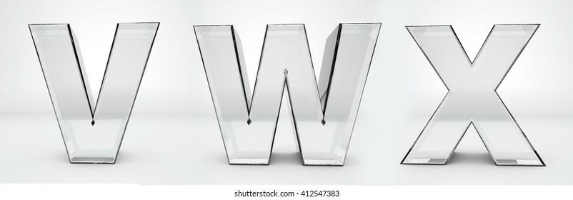 Transparent letters V, W, X. Glass alphabet 3d render.