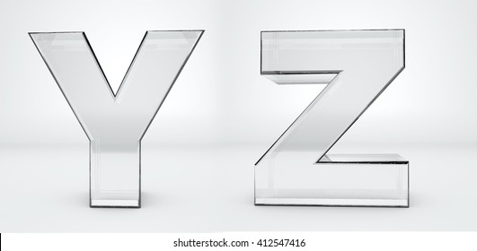 Transparent letters Y, Z. Glass alphabet 3d render.