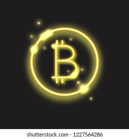 Transparent neon bitcoin sign in round frame. Shiny golden light cryptocurrency symbol isolated on dark background.
