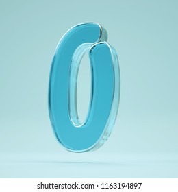 Transparent number 0. Glass alphabet on a blue background.