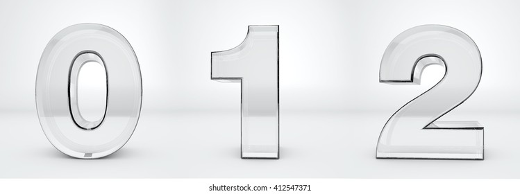Transparent numbers 0, 1, 2. Glass 3d render.