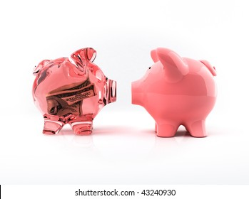 Transparent piggy bank with bill