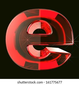 transparent ruby glare 3d letter e isolated on black