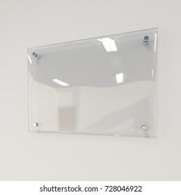 Transparent signboard on wall, mock up, 3d illustration
