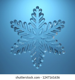 transparent snowflake isolated on blue background. 3d rendering snowflakes made of ice. decoration of cards and Christmas.