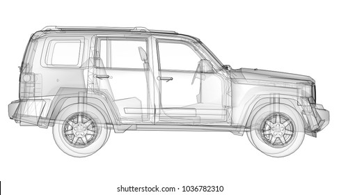 Transparent SUV with simple straight lines of the body. 3d rendering.