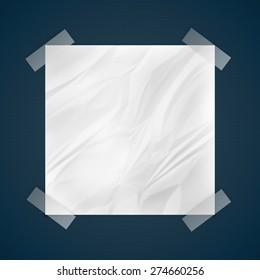 transparent tape stich crushed paper, communication concept