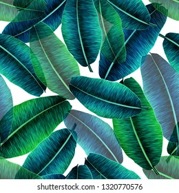 Transparent tropical banana leaves, jungle leaf seamless floral pattern white background. Artistic palms pattern with seamless repeating design. Pattern for summer designs.