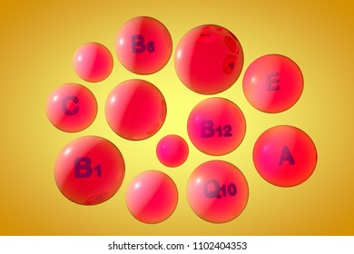Transparent vitamin A, C, E, B1, B6, B12 and coenzyme Q10 pills on colorful background. Vitamin and mineral complex. Medical background. 3d illustration
