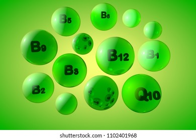 Transparent vitamin B1, B2, B3, B5, B6, B9, B12 and coenzyme Q10 pills on colorful background. Vitamin and mineral complex. Medical background. 3d illustration