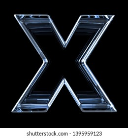 Transparent x-ray letter X. 3D render illustration on black background
