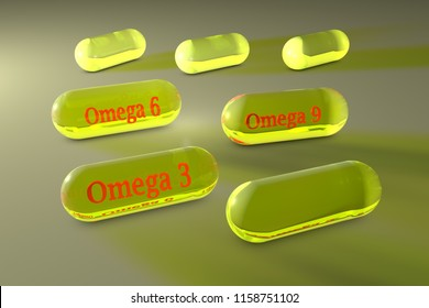 Transparent yellow omega-3, omega-6 and omega-9 capsules. Fish and vegetable oil capsules. Polyunsaturated fatty acids. Vitamin and mineral complex. Medical background. 3d illustration