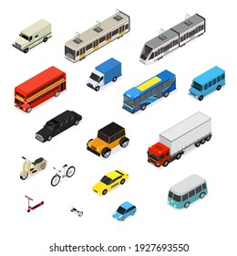 Transport Car 3d Icons Set Isometric View Include of Bus, Truck, Taxi, Motor and Van. illustration of Icon