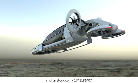 Transport of the future. The car is flying above the ground, against the background of a foggy horizon, the concept of a flying car is Possible . side view.A 3D illustration.