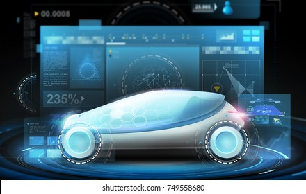 transport and future technology - futuristic concept car and virtual screens projection over black background