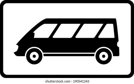 transport icon with black mini bus silhouette