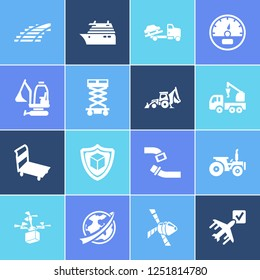 Transport icon set and space vehicle with backhoe, speedometer and ship by air. Bulldozer related transport icon  for web UI logo design.
