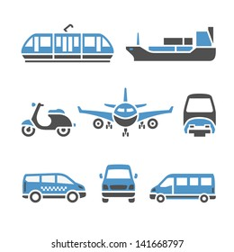 Transport Icons - A set of ninth. Set silhouettes isolated on white background. Bicolor (blue and gray colors). Vector version (eps) also available in gallery