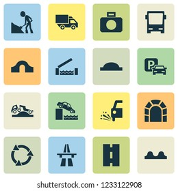 Transport icons set with road work, quayside, truck and other van elements. Isolated  illustration transport icons.