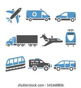 Transport Icons - A set of seventh. Set silhouettes isolated on white background. Bicolor (blue and gray colors). Vector version (eps) also available in gallery