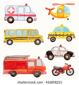 transport kids watercolor illustrations