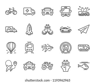 Transport line icons. Set of Taxi, Helicopter and Train linear icons. Truck, Underground metro train or Tram and Air balloon transport symbols. Bike, Airport plane and Ship. Travel bus. Paper airplane