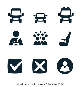 Transport solid icons set for web and print