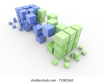 Transportation 3D cubes. Isolated. Render