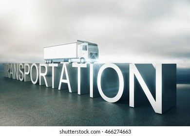 Transportation concept. Abstract voluminous text with truck on top. Dull sky background. 3D Rendering