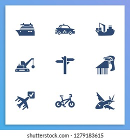 Transportation icon set and aircraft with barcode reader, ship by air and road sign. Vessel related transportation icon  for web UI logo design.