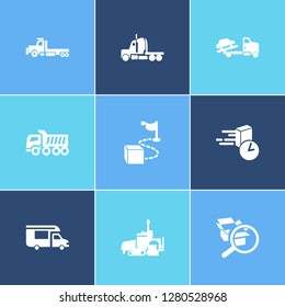 Transportation icon set and semitruck with on time delivery, campervan and flatbed truck. Distribution related transportation icon  for web UI logo design.