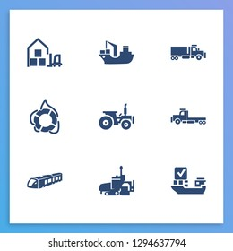 Transportation icon set and tractor with warehouse, flatbed truck and cargo barge. Agriculture car related transportation icon  for web UI logo design.