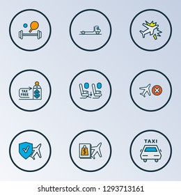 Transportation icons colored line set with tax free, plane crash, seat feet space and other cashier elements. Isolated  illustration transportation icons.